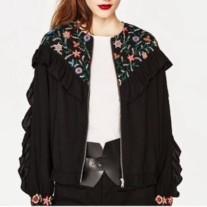 Zara Ruffle Floral Embroidered Zip Up Jack…